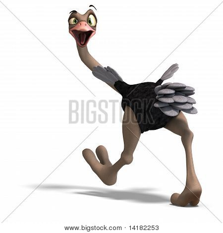 cute toon ostrich gives so much fun