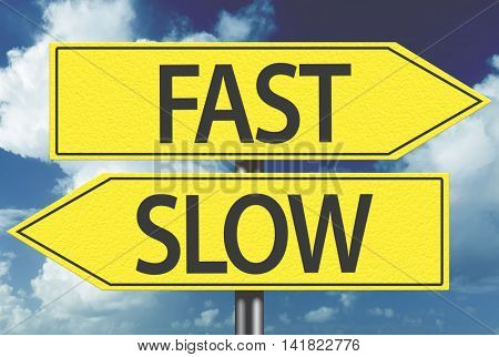Fast x Slow yellow sign