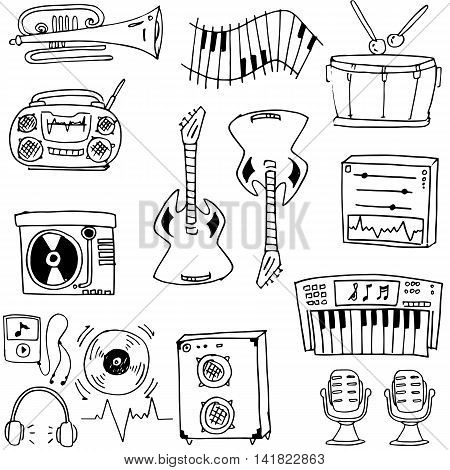 Doodle of tool music set stock collection vector