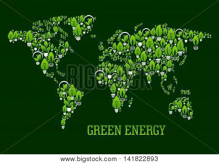 Eco green world map symbol with pattern of various light bulbs with leaves, stems and sprouts. Use as ecological design for green energy, renewable resources and save energy technology concepts