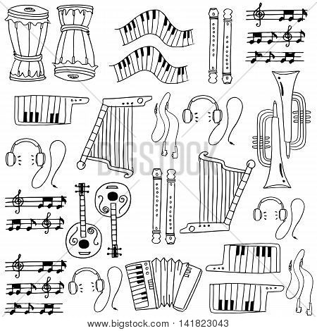 Hand draw music set doodles collection stock