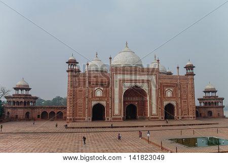 Close Up Of Mosque In Taj Mahal Complex, Agra, India