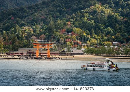 Great Floating Gate (o-torii) On Miyajima Island Near Itsukushima Shinto Shrine
