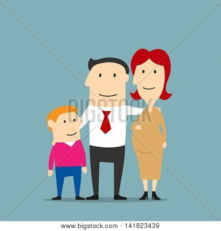 Happy united family expecting a newborn baby. Proud man hugging his pregnant wife and son. Pregnancy and parenting concept design. Cartoon style