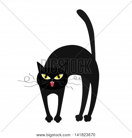 Frightened cat arch back. Yellow eyes fangs curl moustaches whisker. Cute funny cartoon character. Isolated. White background. Flat design. Vector illustration