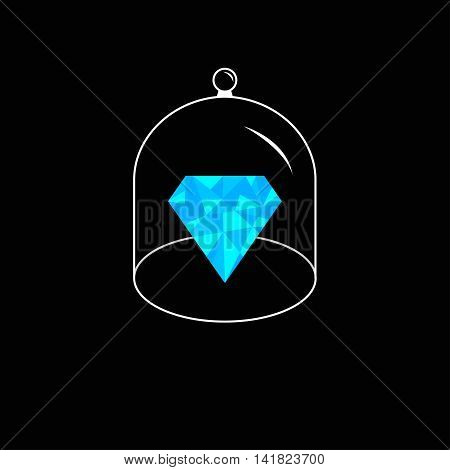 Blue polygonal diamond. Glass bell cover cap. Half sphere lid dome with handle. Black background. Vector illustration.