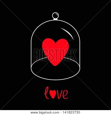 Red heart. Glass bell cover cap. Half sphere lid dome with handle. Love greeting card. Black background. Vector illustration.