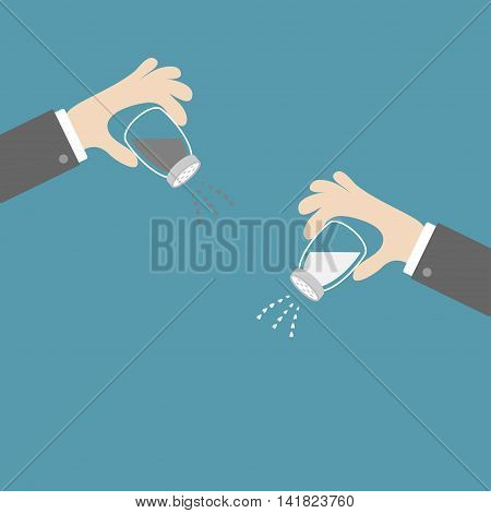 Hands with salt pepper shaker. Glass container set. Heart crystal. Flat design. Blue background. Vector illustration