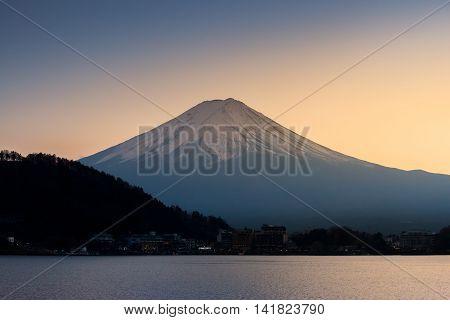 The Mountain Fuji And Lake Kawaguchi At Sunset