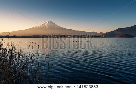 Mount Fuji morning view from the lake