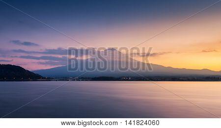 Mountain Fuji And Lake Kawaguchi At Sunset
