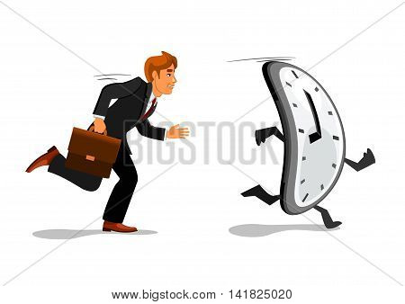 Excited businessman in suit with briefcase is running late for work. Manager chasing a clock, trying to outrun the time. Time management, deadline theme design