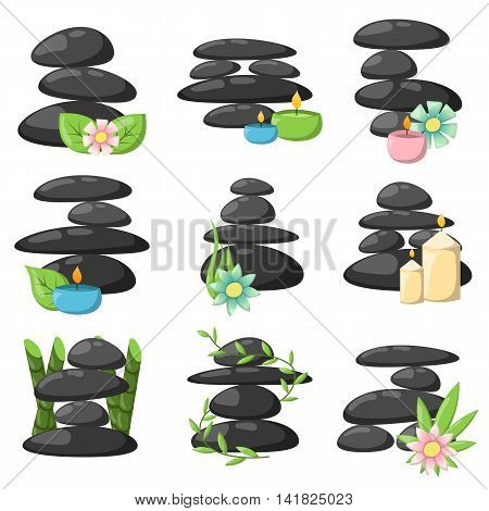 Zen basalt stones and bamboo isolated on white. Peaceful concept tropical wellness relax spa stones buddhism alternative symbol. Medicine concept black relax spa stones peace natural balance.