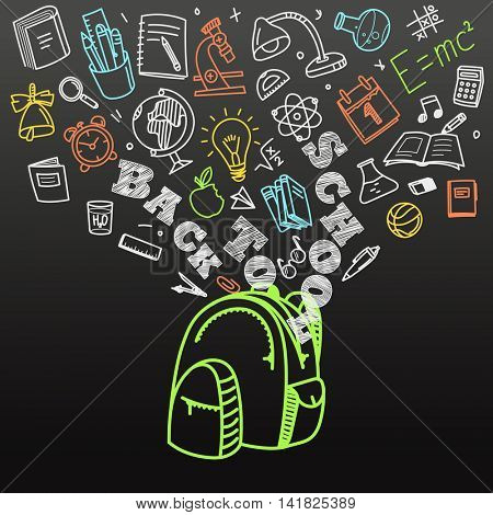 Back to school concept. Falling icons to the school bag