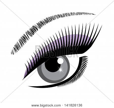 vector illustration of a beautiful eye with long lashes