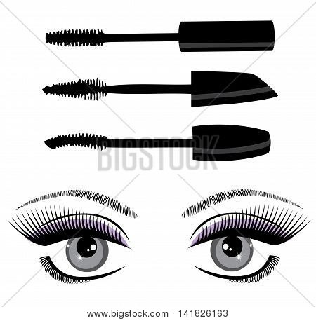 vector illustration of eyes with long lashes and mascara set