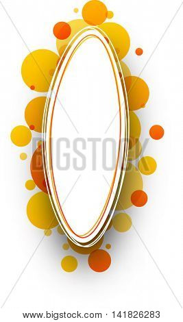 Paper white abstract background with orange bubbles. Vector illustration.