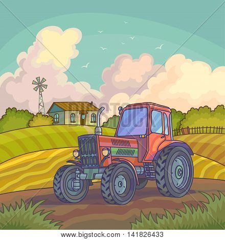 Harvest time. Farm rural landscape with fields. Vector background illustration.