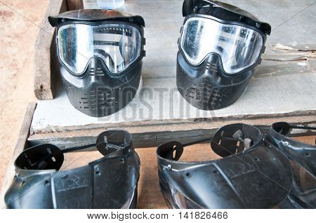 Paintball Mask safety sport gun, ready to play