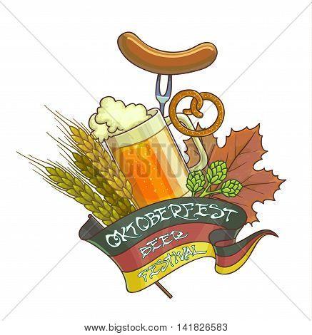 Octoberfest festival cartoon design with glass of beer, ears. Vector Illustration.