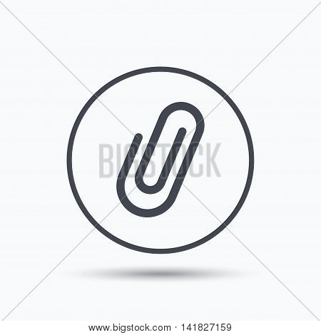 Attachment icon. Paper clip symbol. Circle button with flat web icon on white background. Vector
