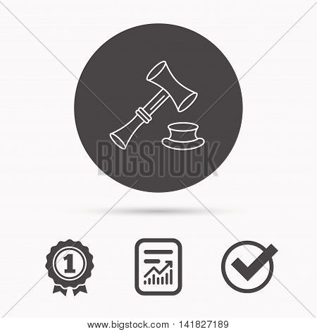 Auction hammer icon. Justice and law sign. Report document, winner award and tick. Round circle button with icon. Vector