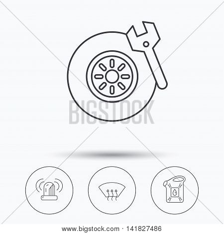 Siren alarm, tire service and jerrycan icons. Heated window linear sign. Linear icons in circle buttons. Flat web symbols. Vector