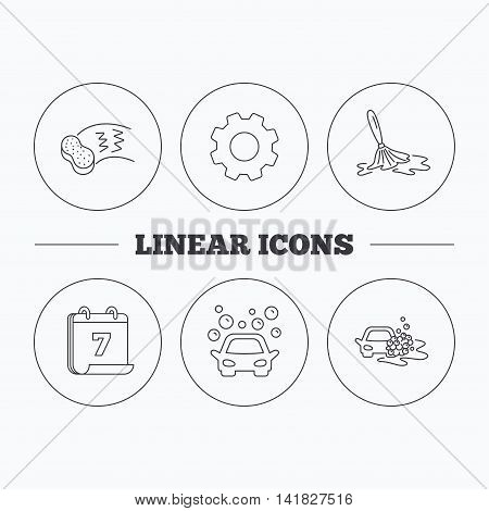 Car wash icons. Automatic cleaning station linear signs. Hand wash, sponge flat line icons. Flat cogwheel and calendar symbols. Linear icons in circle buttons. Vector