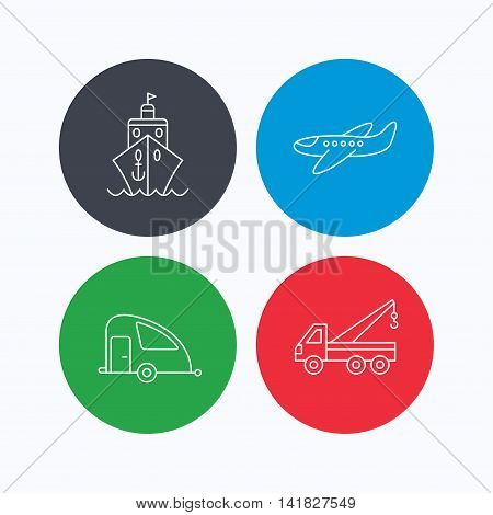 Transportation icons. Cruise, airplane and van linear signs. Evacuator flat line icon. Linear icons on colored buttons. Flat web symbols. Vector