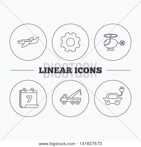 Electric car, airplane and helicopter icons. Evacuator linear sign. Flat cogwheel and calendar symbols. Linear icons in circle buttons. Vector