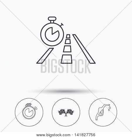 Race flags, travel timer and petrol station icons. Timer linear sign. Linear icons in circle buttons. Flat web symbols. Vector