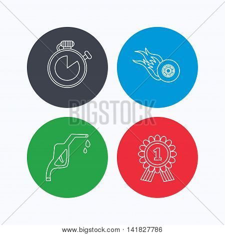 Winner award, petrol station and speed icons. Race timer linear sign. Linear icons on colored buttons. Flat web symbols. Vector