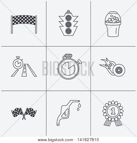 Race flags and speed icons. Winner medal, checkpoint and traffic lights linear signs. Timer and petrol station flat line icons. Linear icons on white background. Vector