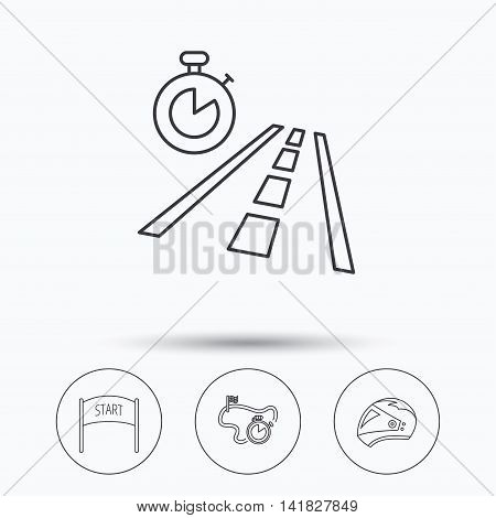 Motorcycle helmet, race timer and travel time icons. Start race linear sign. Linear icons in circle buttons. Flat web symbols. Vector