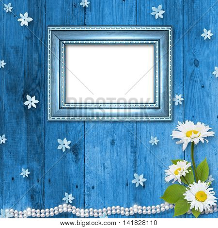 Textured background with framework and flowers. Page to design photo book. Template photo album.
