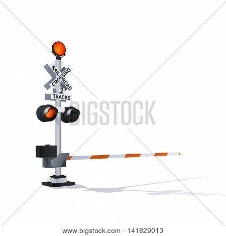 Color Vector Photorealistic Railway Traffic Signal Illustration Isolated On White