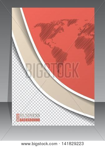 Cool brochure design with photo container and world map