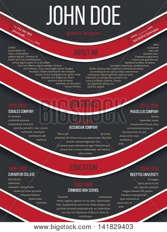 Modern resume cv curriculum vitae template with red waves on gray background