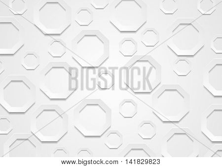 Abstract grey paper tech octagon shapes background. Graphic vector brochure design