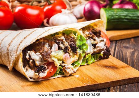 Tasty Fresh Wrap Sandwich With Beef And Vegetables