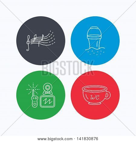 Baby wc, video monitoring and songs for kids icons. Beach bucket linear sign. Linear icons on colored buttons. Flat web symbols. Vector