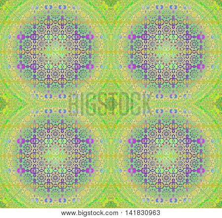 Abstract geometric seamless background. Regular floral circles and diamond pattern in lime green and purple shades with blue, orange and violet elements, ornate and dreamy.