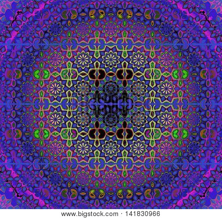 Abstract geometric seamless background. Regular floral circle ornament in violet and purple shades with lime green and black elements, ornate and dreamy.