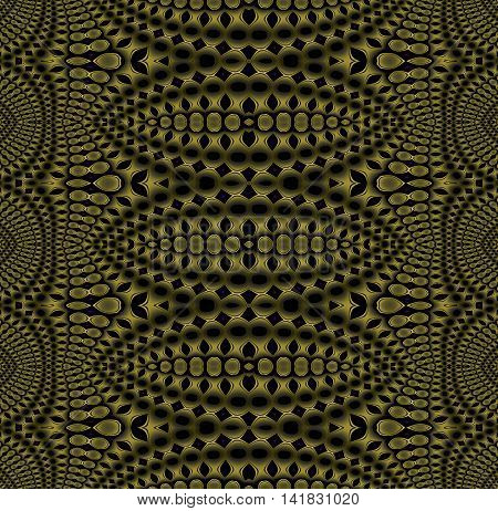Abstract geometric seamless shiny background. Regular dark ellipses pattern in gold brown and olive green shades on black, ornate and gradient hole pattern.