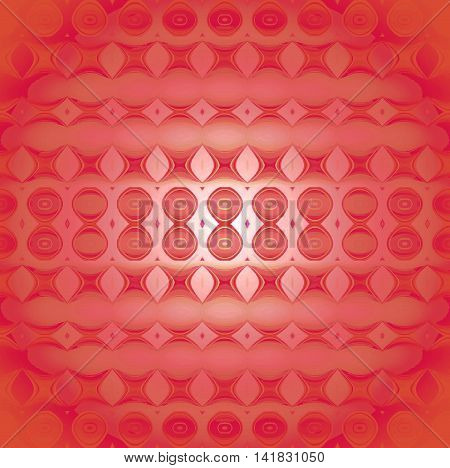 Abstract geometric seamless background, modern and gradient. Regular circles, ellipses and diamond pattern in pastel red, light brown and pink shades, centered, blurred and shiny.