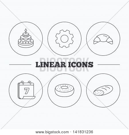 Croissant, cake and bread icons. Sweet donut linear sign. Flat cogwheel and calendar symbols. Linear icons in circle buttons. Vector