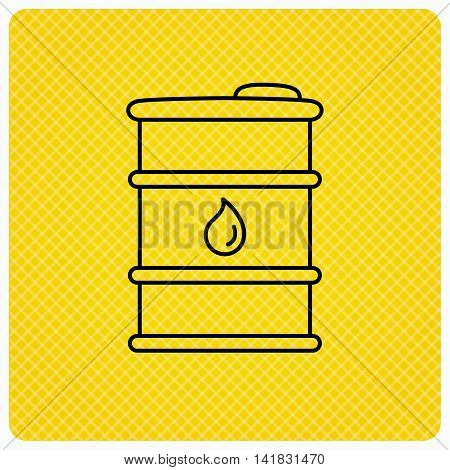 Barrel of oil icon. Cask with water drop sign. Fuel symbol. Linear icon on orange background. Vector