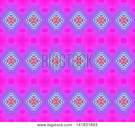 Abstract geometric seamless background. Conspicuous regular diamond and circles pattern magenta with light blue and purple elements.
