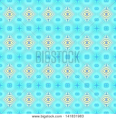 Abstract geometric seamless retro background.  Regular circles pattern turquoise blue and yellow with purple outlines, ornate and dreamy.