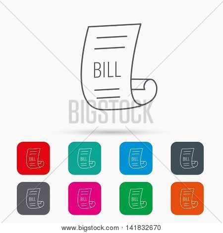 Bill icon. Pay document sign. Business invoice or receipt symbol. Linear icons in squares on white background. Flat web symbols. Vector